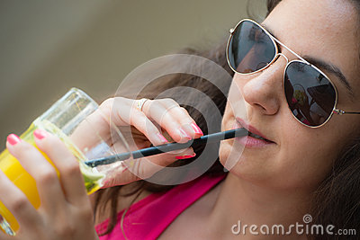 Young woman and juice
