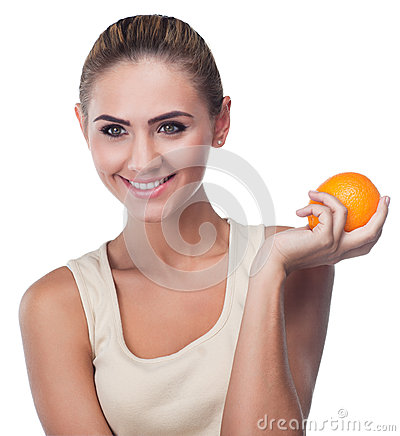 Young woman with juice on white backg