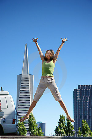 Free Young Woman Jumping Stock Photo - 8144450