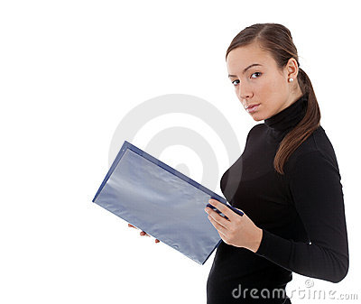 Young woman keeping blue clipboard