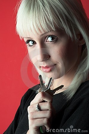 Young woman with keys