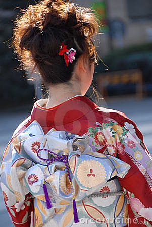 Young woman in kimono dress