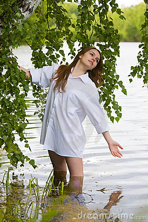 Young woman on the lake.