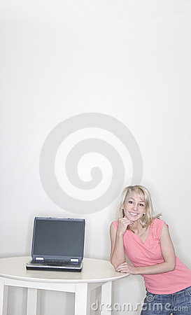 Young woman and laptop