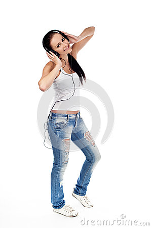 Young woman listen to music isolated