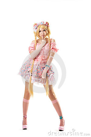 Young woman in lolita costume cosplay isolated