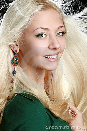 Young woman with long blond hair