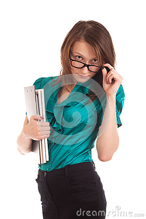 Young woman looking at you over glasses