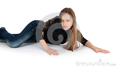 Young woman lying on floor