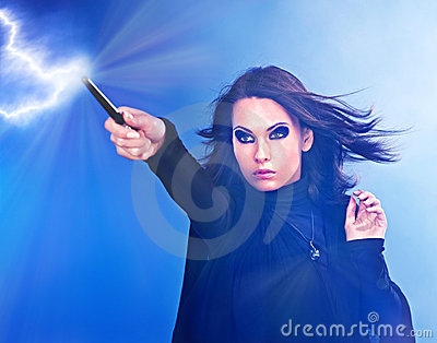 Young woman with magic wand.