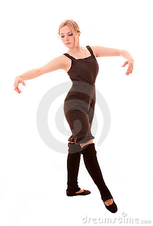 Young woman makes dancing exercise isolated