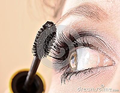 Young woman makeup with mascara