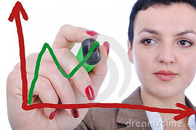 Young woman making a chart