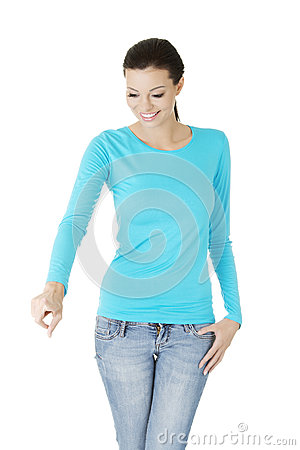 Young woman making choose on abstract screen