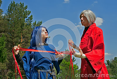 Young woman and man cosplay 1