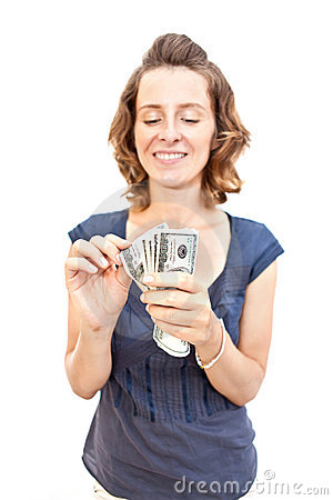 Young woman with money in hands
