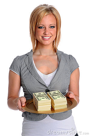 Young Woman With Money Tray