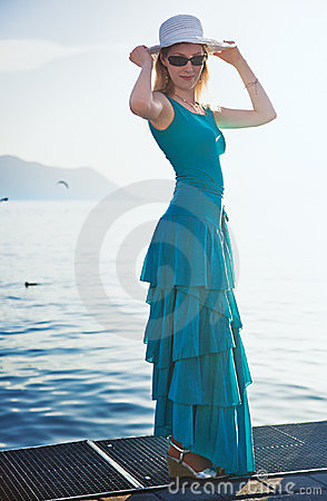Young woman at the moorage