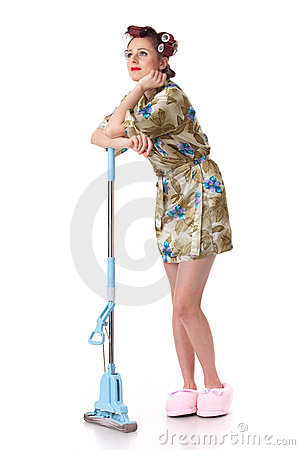 Young woman with mop.