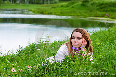 Young woman on nature.