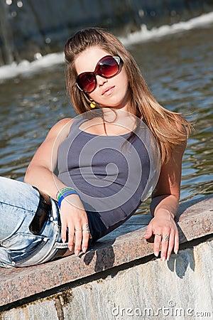 Young woman near Fountain