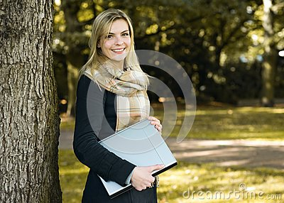 Young Woman With Notebook Stock Images - Image: 21521904