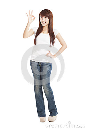 Young Woman with ok gesture