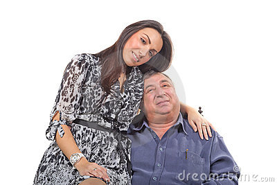 Young woman and old men