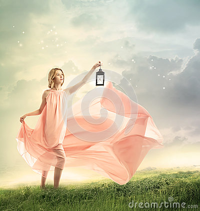 Free Young Woman On A Fantasy Hilltop Royalty Free Stock Image - 48556046