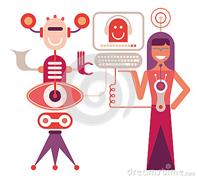 Young woman operates the robot - vector illustration