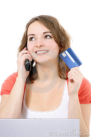 Young woman ordering via internet