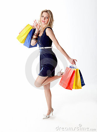 Young woman out for shopping