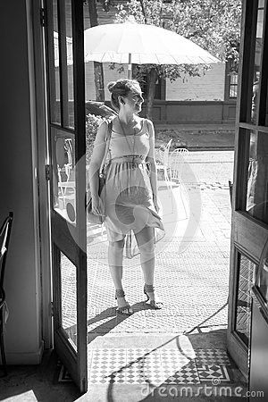 Young woman outside a restaurant