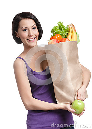 Young woman with the packet full of food