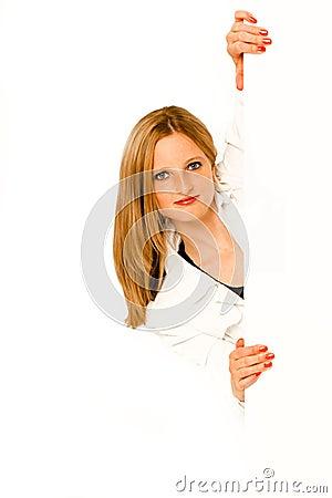 Free Young Woman Peeking Around Corner Stock Image - 55574331