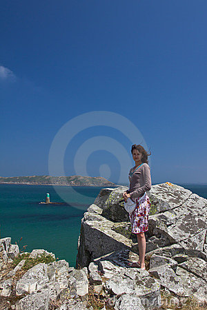 Young woman at Perros Guirec