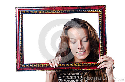 Young woman with picture frame