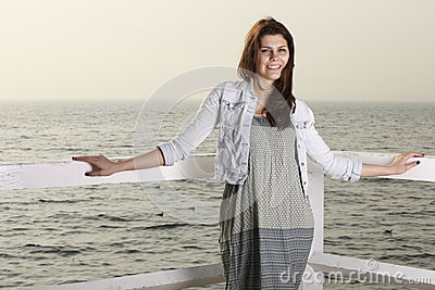 Young woman on the pier