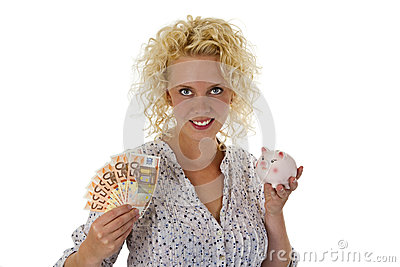 Young woman with piggy bank and euro banknotes