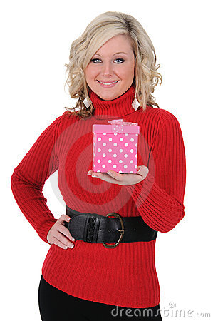 Young Woman With a Pink Gift Box 01
