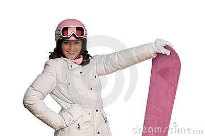 Young woman with pink helmet and snowboard