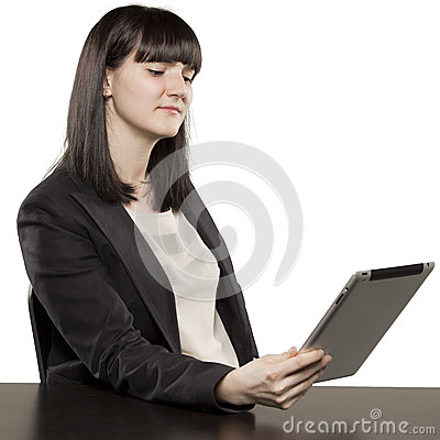 Young woman playing on Ipad
