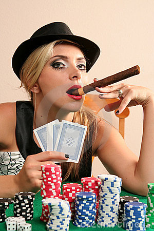 Young woman playing poker