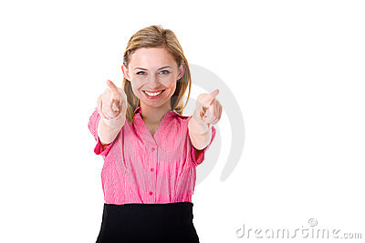 Young woman points towards camera, you, isolated