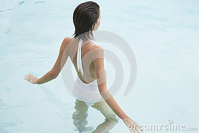 Young Woman In Pool