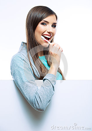 Young woman portrait hold toothy brush.
