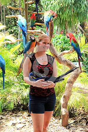 Free Young Woman Posing With Exotic Wildlife,Jungle Island,Miami,2014 Royalty Free Stock Image - 41801596
