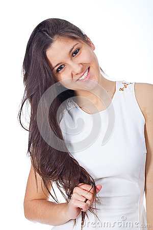 Young woman in positive expressions