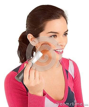 Young Woman Powdering her Cheek