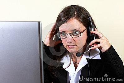 Young woman preparing for help desk work